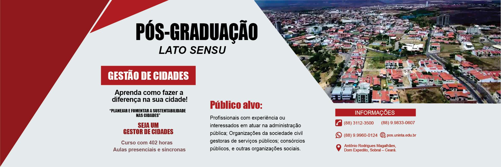 Pós-graduação em Gestão de Cidades