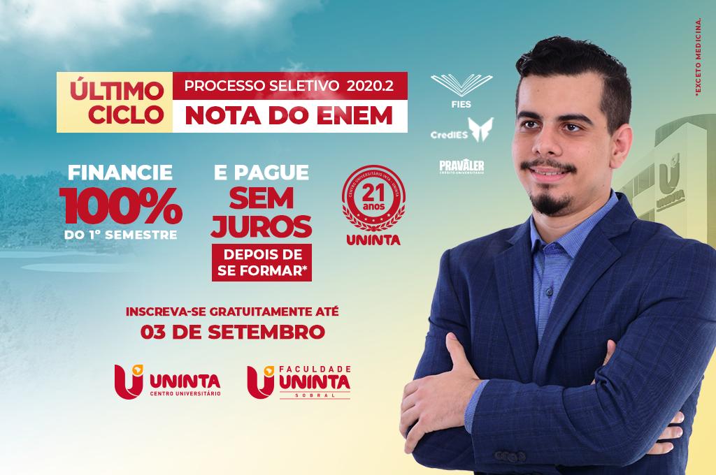 INGRESSO PELA NOTA DO ENEM: Financie 100% do primeiro semestre e pague sem juros depois de se formar. Últimos dias para inscrever gratuitamente.