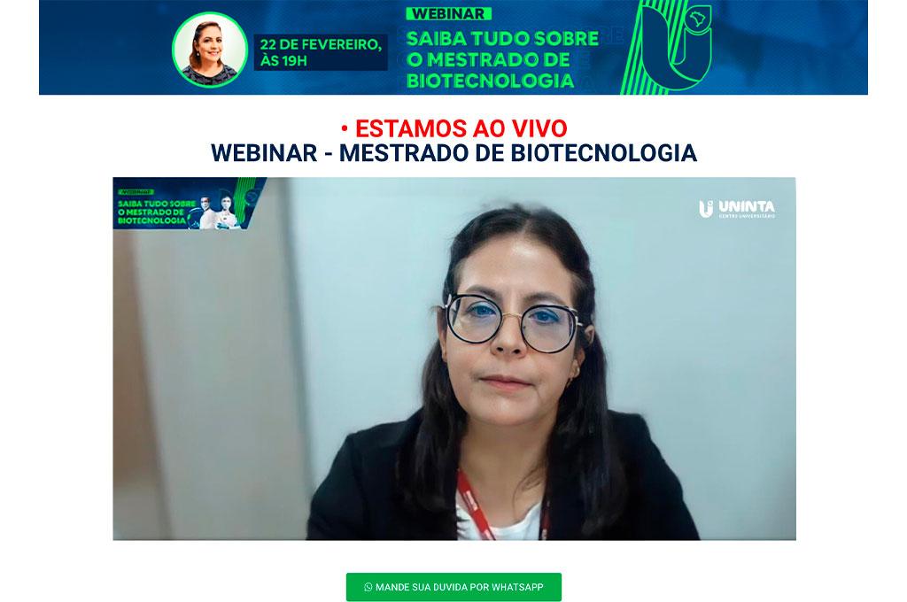 Webinar promove debate e tira dúvidas sobre o Mestrado em Biotecnologia UNINTA; Inscrições estão abertas